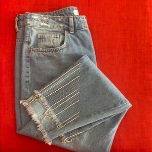 NWOT Rhinestones fringes crop Zara jean